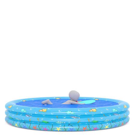 kiddie: 3D rendered figure uses float in kiddie pool against a white background