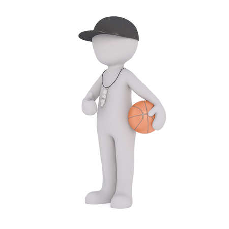 umpire: 3d Rendering of Cartoon Figure Wearing Cap and Whistle Around Neck While Standing in front of White Background Holding Basketball