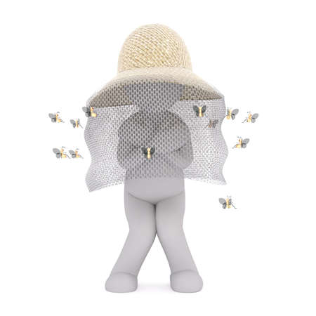 buzzing: 3d Rendering of Cartoon Figure Wearing Bee Keeper Hat Surrounded by Buzzing Bees While Standing with Nervously with Knees Together in front of White Background