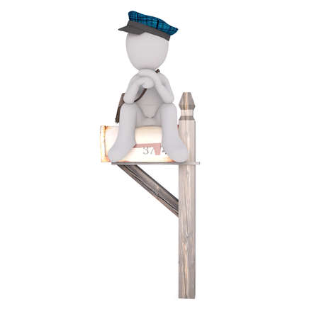 Little faceless cartoon character of postman in blue cap sitting over mailbox propping head looking away, 3D render isolated on white