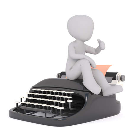 Little faceless cartoon man thumbs up while sitting on the vintage typewriter machine, 3D render isolated on white bacground