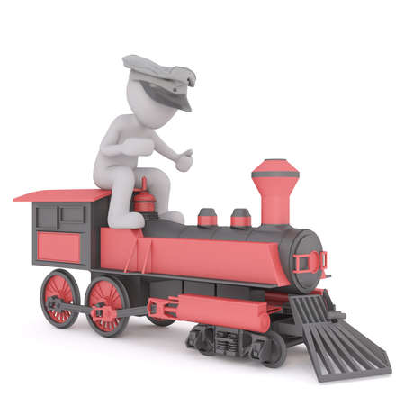 3d Train driver in his cap sitting on top of the colorful red engine, rendered cartoon illustration on white
