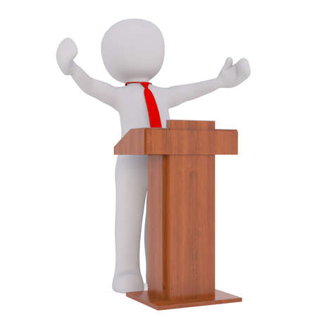3d businessman or lecturer giving a presentation standing behind a lectern, rendered cartoon illustration on white