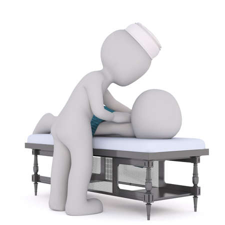 relaxation massage: Cartoon 3d man having a massage from a masseuse at a spa or getaway resort as he lies on a table, rendered illustration on white