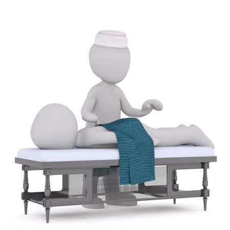 masseuse: 3d man lying on a table having a massage from the masseuse at the spa, rendered illustration