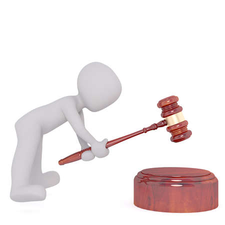 Little faceless cartoon man striking with a mallet in case of court or auction, 3D render isolated on white Stock Photo