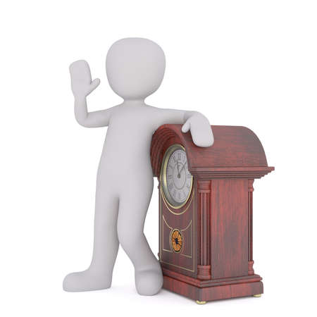 mantel: 3D model of standing faceless grey cartoon character leaning his arm above the vintage wooden clock Stock Photo