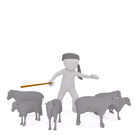 herder: 3d rendered cartoon shepherd or herder with his flock of stubborn sheep facing in opposite directions as he waves a crook