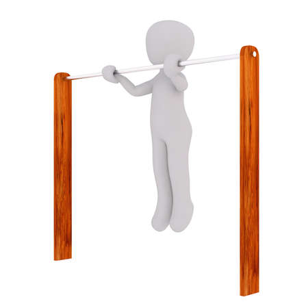 3d toon figure performing pull ups on a white background Stock Photo