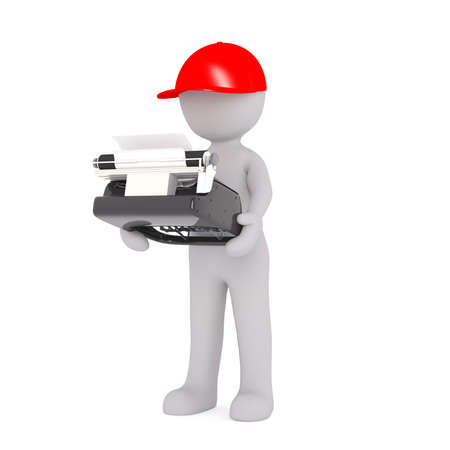 3d man in a red cap carrying an old-fashioned manual typewriter, rendered cartoon illustration on white
