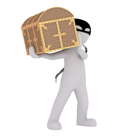 stealing: 3d man in a mask with a jemmy stealing a treasure chest carrying it away on his shoulder, rendered cartoon illustration on white