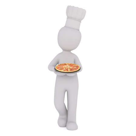 forwards: 3d chef wearing a toque carrying an Italian pizza as he walks forwards, rendered cartoon illustration on white Stock Photo