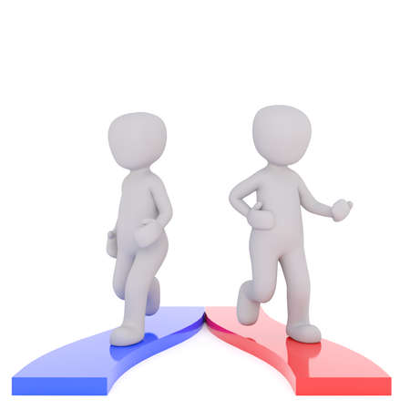 3D figure of two men walking aside by diverged blue and red paths, render isolated on white background