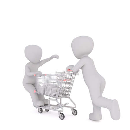 niño empujando: 3d man pushing a child on a shopping cart as he does his shopping in a grocery store, rendered cartoon illustration on white Foto de archivo