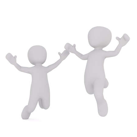 Two faceless cartoon characters happily jumping with hands up, 3D render isolated on white background Stock Photo