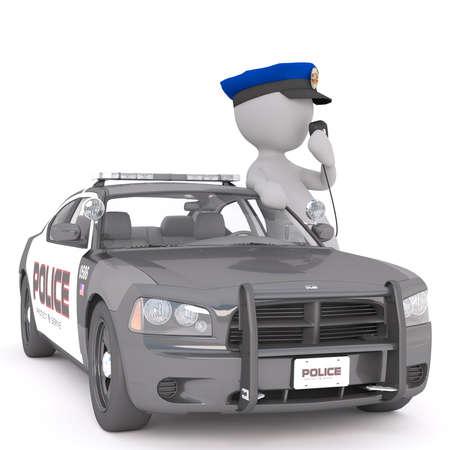 3 d 警官に立って青役員帽子で彼のパトカーのラジオで話している白の漫画イラストをレンダリング