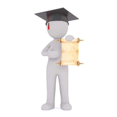 mortarboard: Proud 3d rendered cartoon man wearing a mortarboard hat showing off his diploma at graduation in a concept of achievement