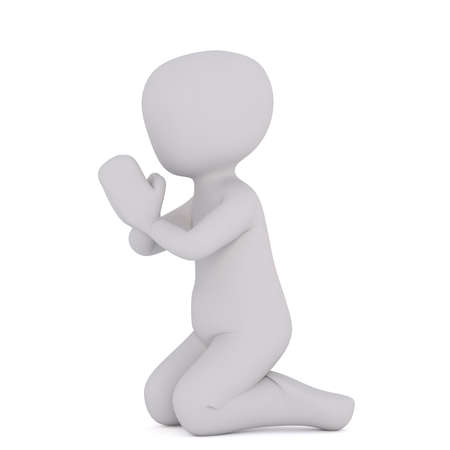 Side view of 3d toon kneeling in prayer on white background