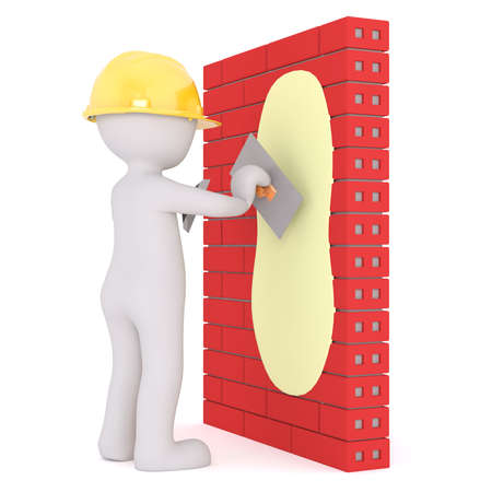 3d plaster or builder wearing a hardhat plastering a red brick wall with a trowel, rendered cartoon illustration on white