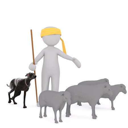 3d rendered cartoon shepherd wearing a bright yellow bandanna and his dog tending a flock sheep