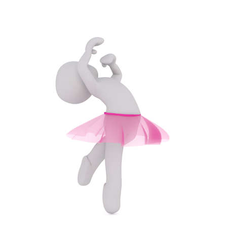 pirouette: Grey faceless cartoon character dancer in pink tutu skirt spinning in dancing pirouette, 3D render isolated on white background