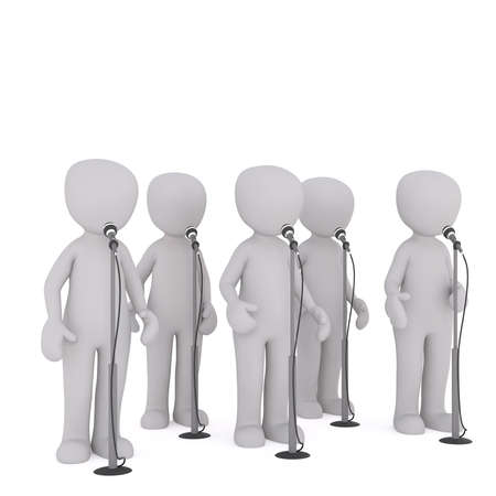 once: Several faceless cartoon men standing and talking or singing into microphones all at once, 3D render isolated on white
