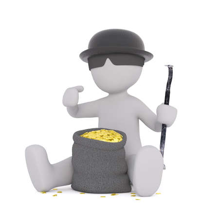 heist: Incognito character wearing hat with sunglasses sitting next to bag of coins, 3D render isolated on white