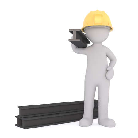 3d construction in a yellow hardhat worker carrying steel girders on a building site, rendered cartoon illustration on white Standard-Bild