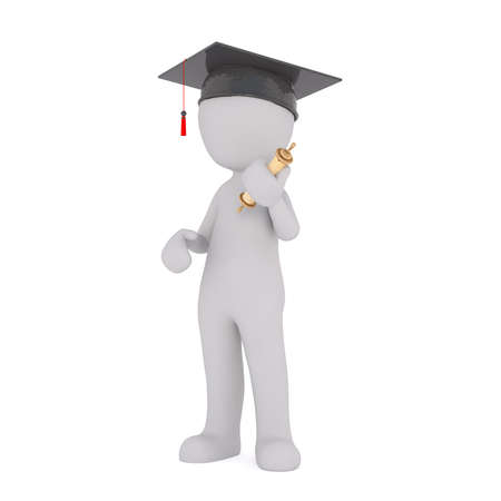 3d rendered cartoon man wearing a mortarboard hat and holding his certificate graduating from college or university in an education concept