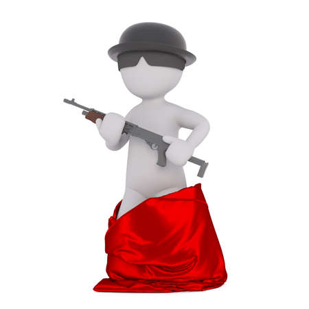 tough man: Cartoon man standing out red bag holding machine gun wearing hat and sunglasses, 3D render isolated on white