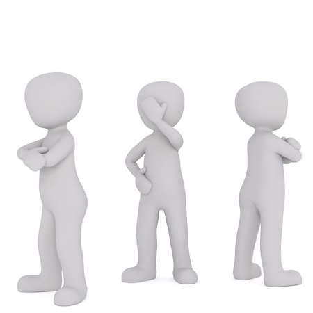 Trois personnages de dessin animé sans visage ont tourné leur retour après la querelle qui montre facepalm, rendu 3D sur fond blanc Banque d'images - 69290662