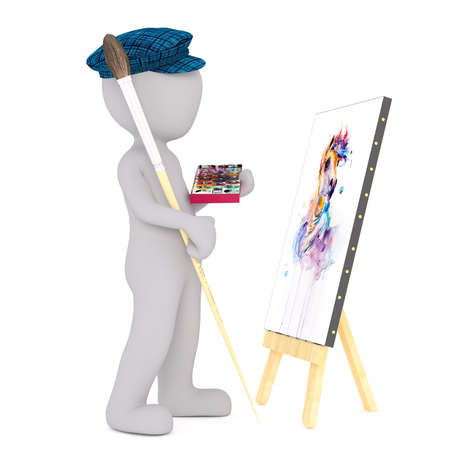 3d toon artist with palette painting picture on canvas, white background