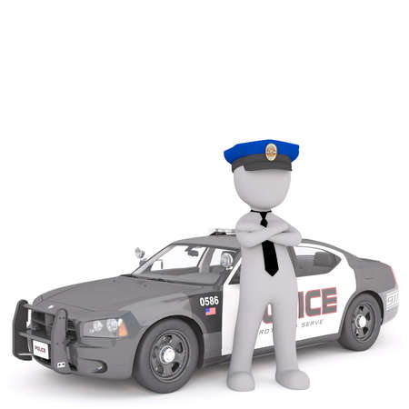3d policeman standing next to his patrol car with folded arms in his cap, rendered cartoon illustration on white