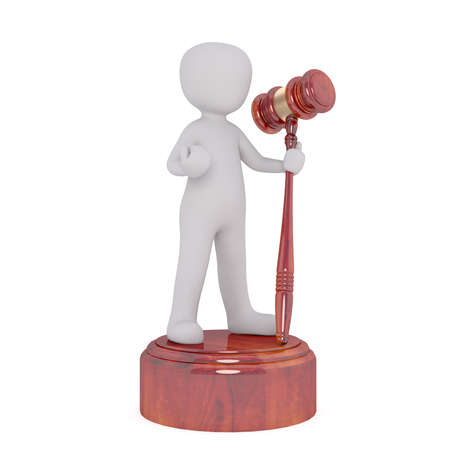 3D faceless cartoon man standing on the striking surface and holding gavel mallet in his hand, isolated on white Stock Photo