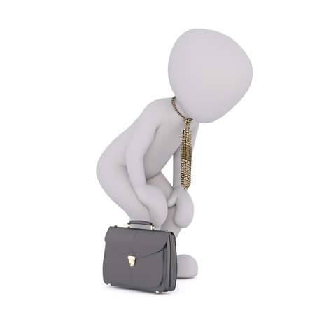 leaning forward: Tired business toon with briefcase leaning forward with hands on knees