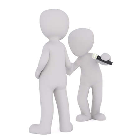 Little grey faceless cartoon men standing next to each other one holding microphone