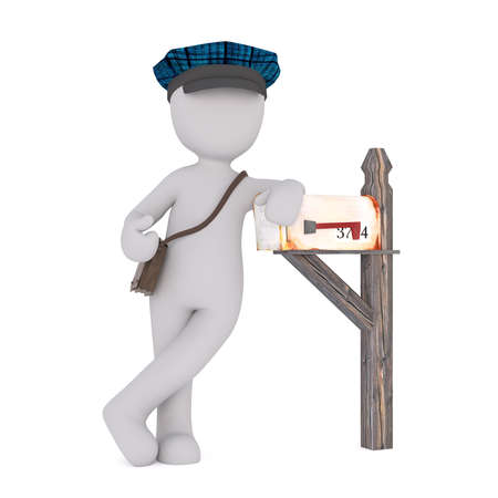 Faceless cartoon mailman character standing next to wooden mailbox with bag and peaked cap, 3D render isolated on white