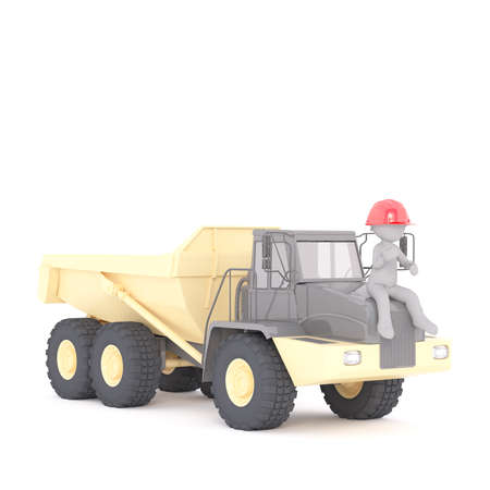 dumpster: 3d builder, miner or workman sitting in his hardhat on the bonnet on a large yellow industrial truck, rendered cartoon illustration on white