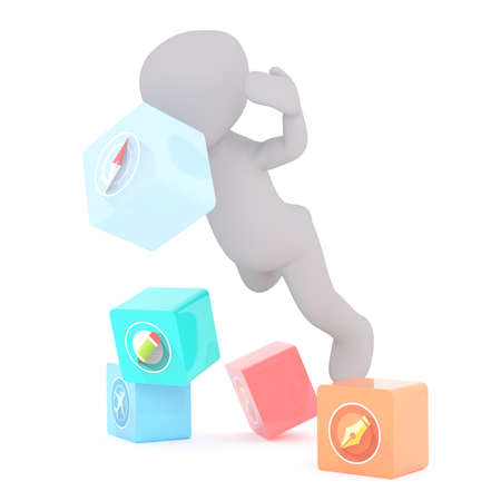 tripping: 3d toon falling into cubes with different icons including pen and aircraft icons Stock Photo
