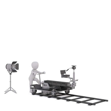 3d toon figure moving cinema camera on trolley along track, white background