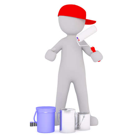 Generic Gray 3d Cartoon Figure Wearing Red Cap and Holding Paint Roller While Standing in front of White Background with Various Paint Cans and Buckets