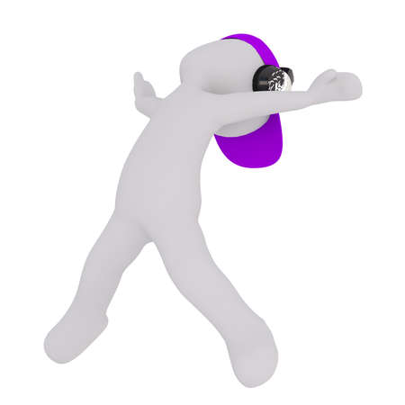Generic Gray 3d Cartoon Figure Wearing Purple Cap and Headphones and Dancing Energetically in front of White Background