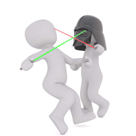 Two 3d toons fighting with light sabres, one in Darth Vader mask, white background