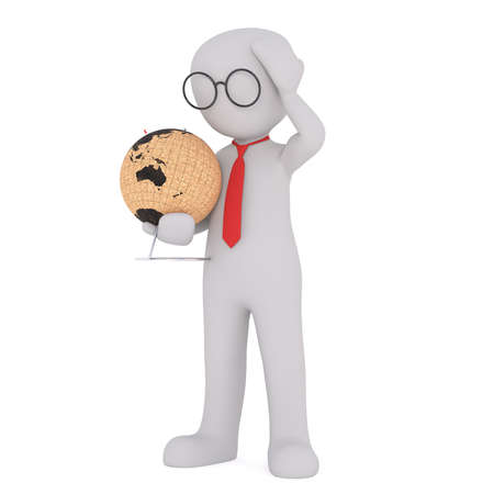 puzzlement: Generic Gray 3d Cartoon Figure Wearing Glasses and Red Neck Tie Standing in front of White Background Holding World Globe and Looking Down with Hand on Head in Puzzlement
