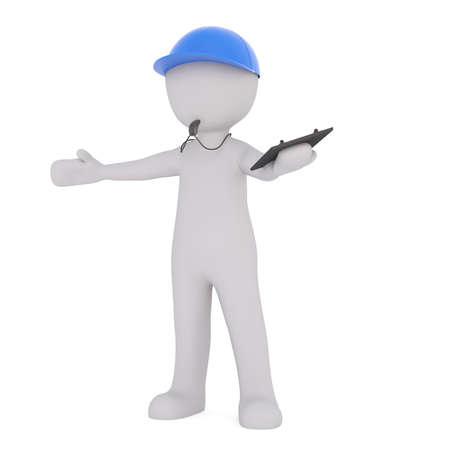3d Gray Cartoon Figure Wearing Blue Cap and Blowing Whistle While Holding Clipboard with Open Arms in front of White Background