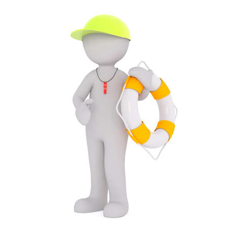 3d Gray Cartoon Figure Wearing Yellow Cap and Safety Whistle Holding Yellow and White Striped Life Ring Standing in front of White Background Stock Photo