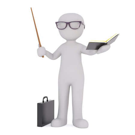 black briefcase: Generic Gray 3d Cartoon Figure Wearing Intelligent Looking Glasses and Holding Open Book and Pointer Stick Standing in front of White Background with Black Briefcase Stock Photo