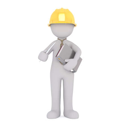 Generic Gray 3d Cartoon Figure Wearing Yellow Hard Hat and Patterned Tie Standing in front of White Background and Holding Binder of Paperwork
