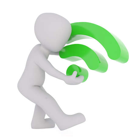 wireless: 3D Rendering of a man carrying a wireless connection symbol with full signal on white background