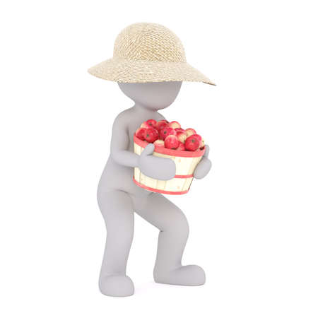 Generic Gray 3d Cartoon Figure Wearing Straw Sun Hat and Carrying Heavy Bushel Basket of Ripe Red Apples in front of White Background